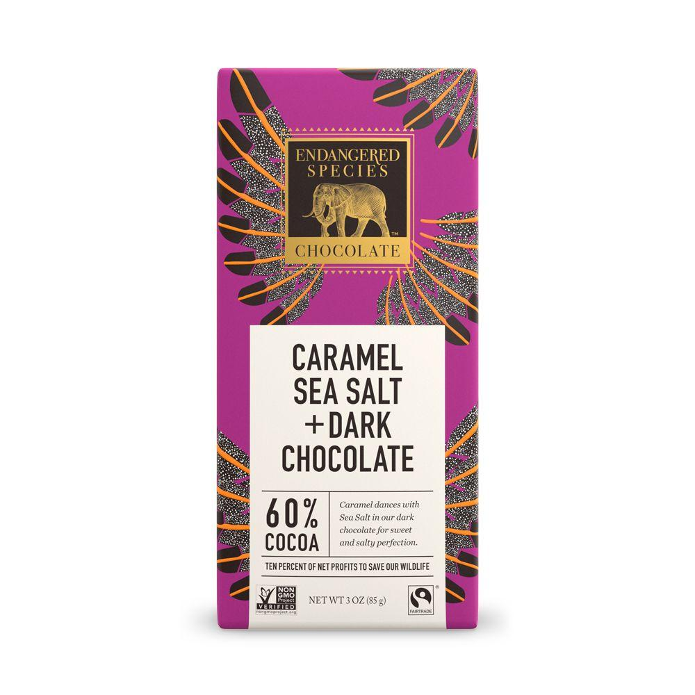 Endangered Species Chocolate, Caramel Sea Salt + Dark Chocolate, 60% Cocoa, 3 oz (Pack of 12)