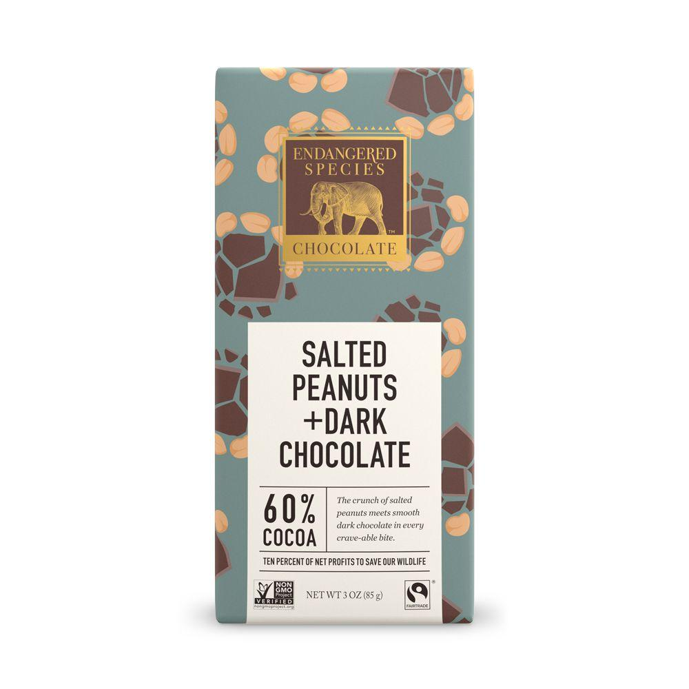 Endangered Species Chocolate, Salted Peanuts + Dark Chocolate, 60% Cocoa, 3 oz (Pack of 12)