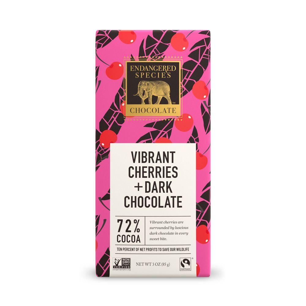 Endangered Species Chocolate, Vibrant Cherries + Dark Chocolate, 72% Cocoa, 3 oz (Pack of 12)