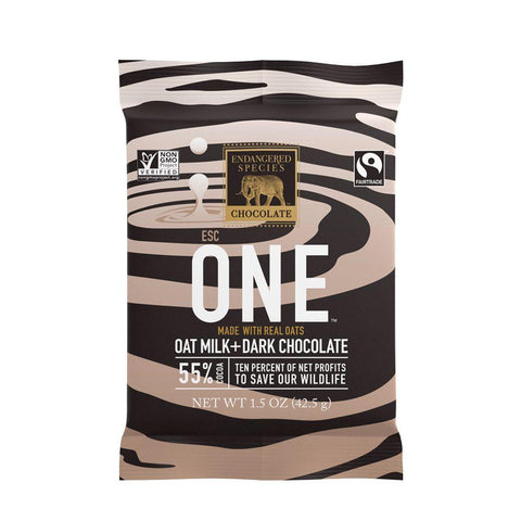 Endangered Species Chocolate, One Oat Milk + Dark Chocolate, 55% Cocoa, 1.5 oz (Pack of 12)