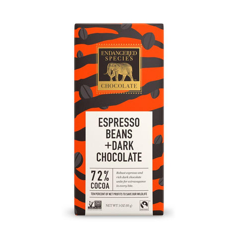 Endangered Species Chocolate, Espresso Beans +  Dark Chocolate, 72% Cocoa, 3 oz (Pack of 12)