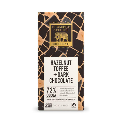 Endangered Species Chocolate, Hazelnut Toffee + Dark Chocolate, 72% Cocoa, 3 oz (Pack of 12)