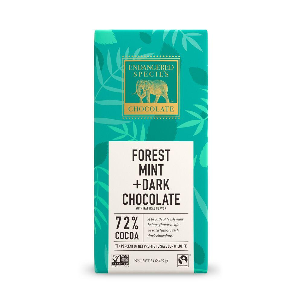 Endangered Species Chocolate, Forest Mint + Dark Chocolate, 72% Cocoa, 3 oz (Pack of 12)