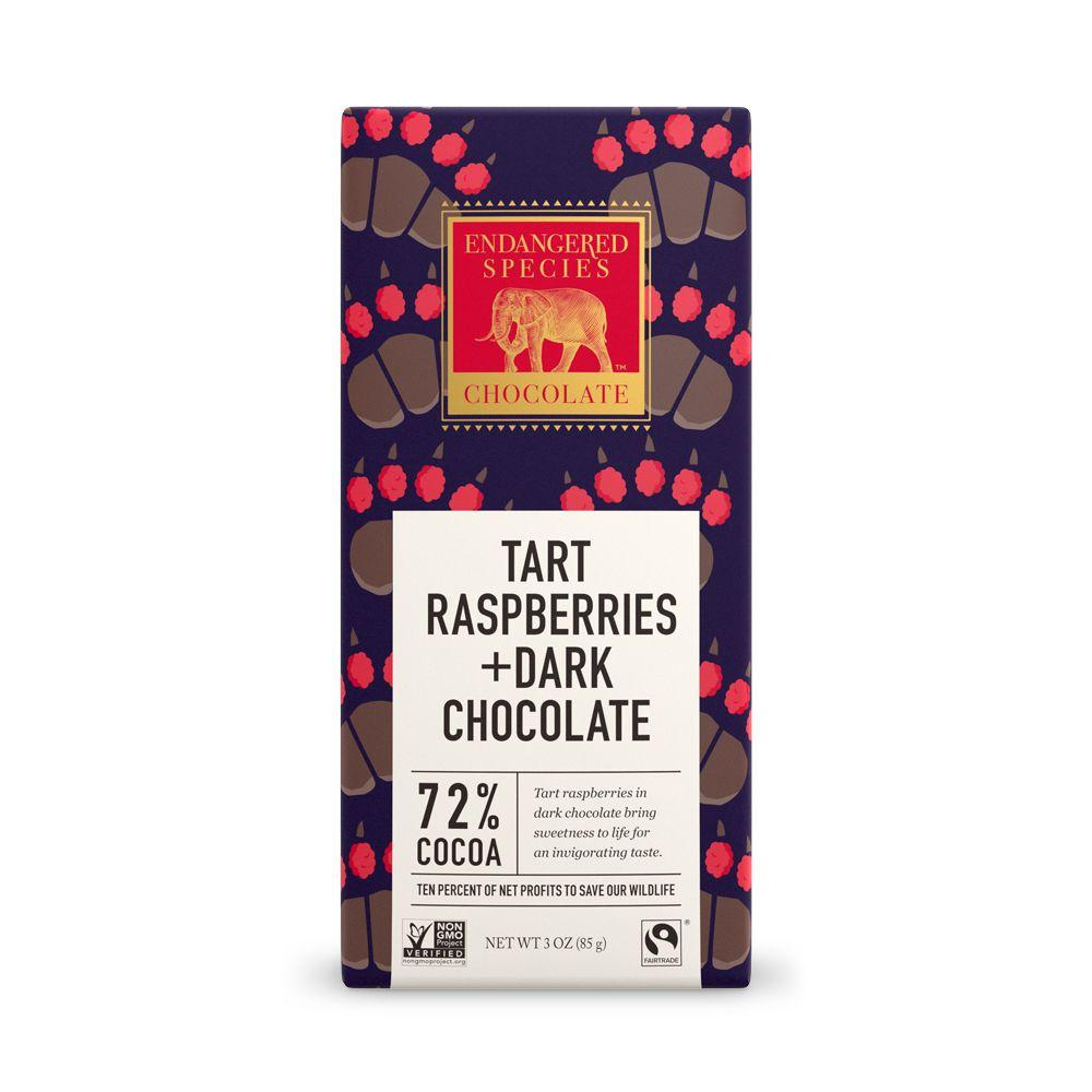 Endangered Species Chocolate, Tart Raspberries + Dark Chocolate, 72% Cocoa, 3 oz (Pack of 12)