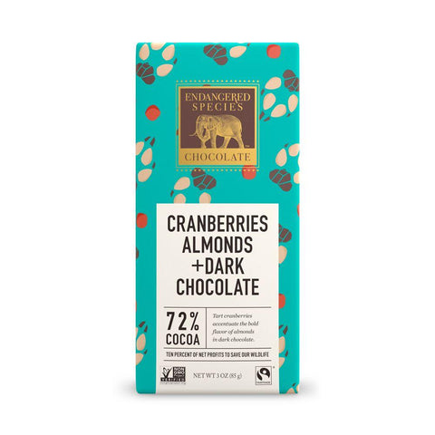 Endangered Species Chocolate, Cranberries Almonds + Dark Chocolate, 72% Cocoa, 3 oz (Pack of 12)