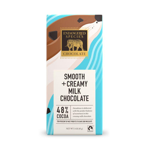 Endangered Species Chocolate, Smooth + Creamy Milk Chocolate,  48% Cocoa, 3 oz (Pack of 12)