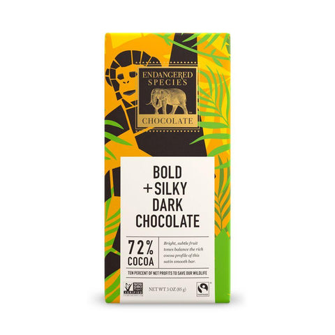 Endangered Species Chocolate, Bold Silky + Dark Chocolate, 72% Cocoa, 3 oz (Pack of 12)