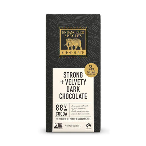 Endangered Species Chocolate, Strong + Velvety Dark Chocolate, 88% Cocoa, 3 oz (Pack of 12)