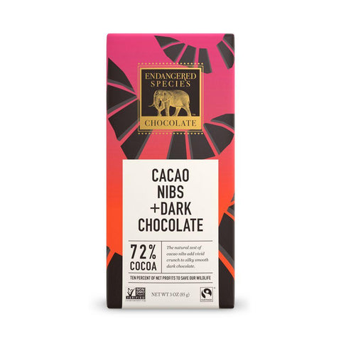 Endangered Species Chocolate, Cacao Nibs +  Dark Chocolate, 72% Cocoa, 3 oz (Pack of 12)