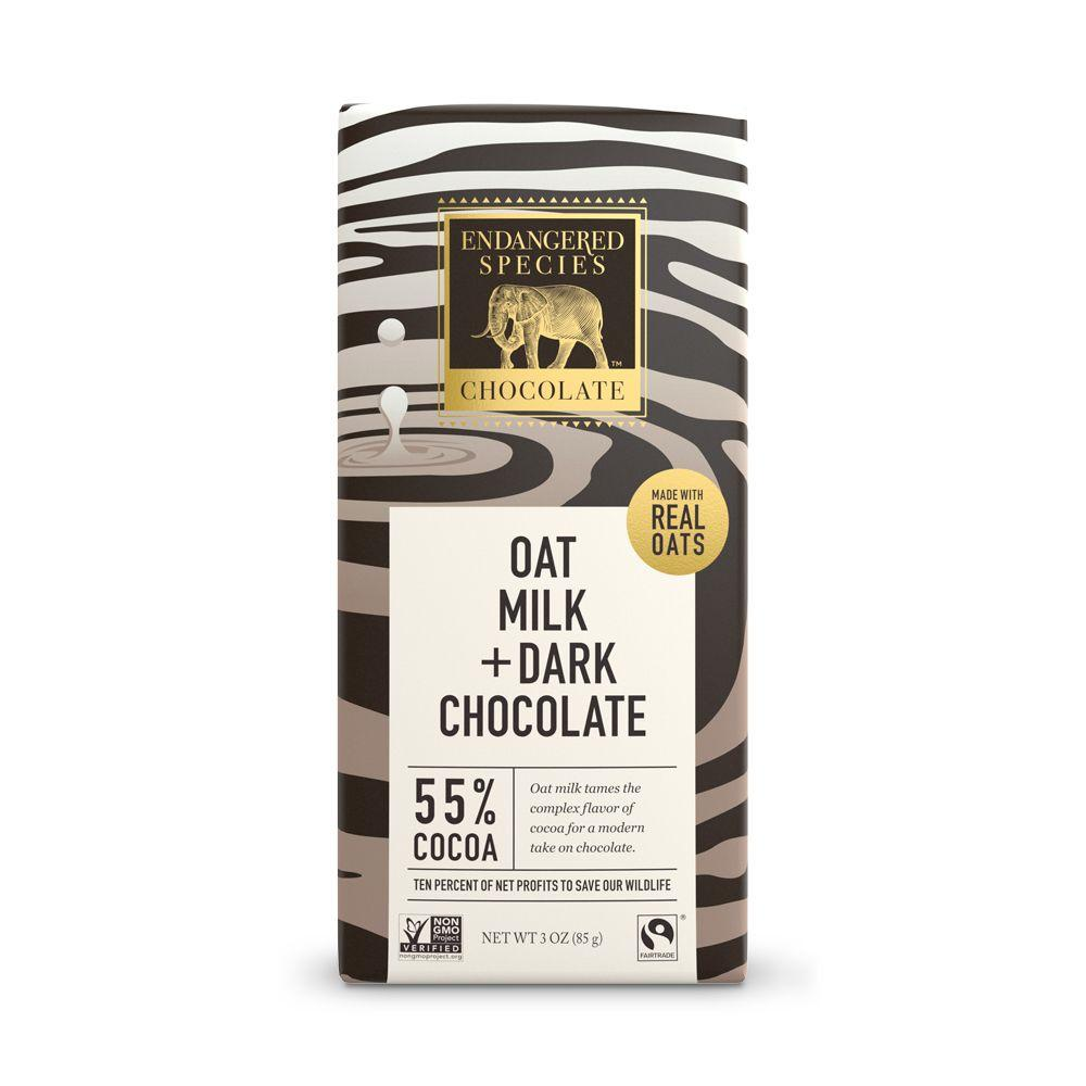 Endangered Species Chocolate, Oat Milk + Dark Chocolate, 55% Cocoa, 3 oz (Pack of 12)