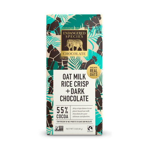 Endangered Species Chocolate, Oat Milk Rice Crisp + Dark Chocolate,  55% Cocoa, 3 oz (Pack of 12)