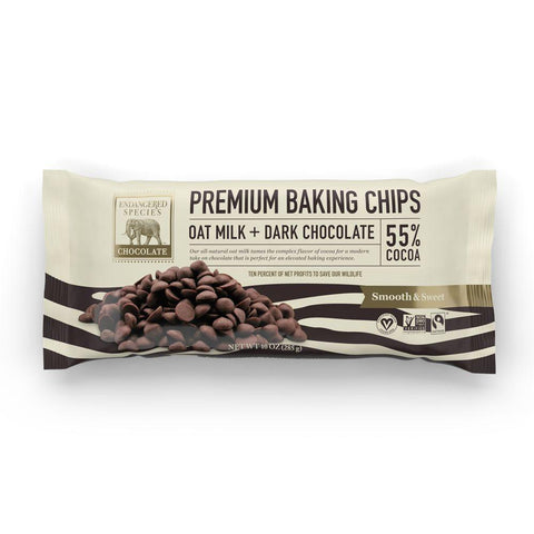 Endangered Species Chocolate, Premium Baking Chips 55% Cocoa Dark Chocolate Oat Milk, 10 oz (Pack of 6)