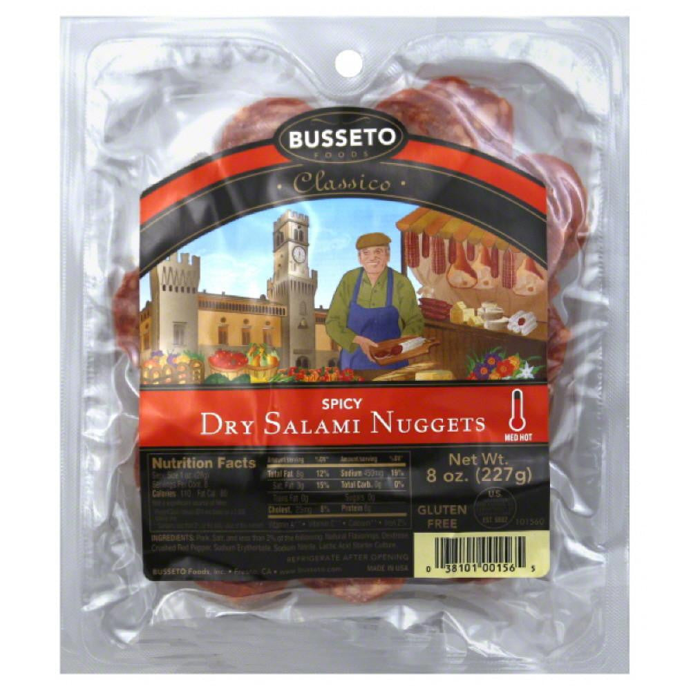 Busseto Med Hot Spicy Dry Salami Nuggets, 8 Oz (Pack of 12)