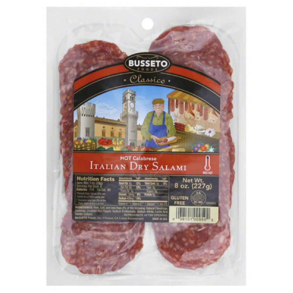 Busseto Medium Hot Hot Calabrese Italian Dry Salami, 8 Oz (Pack of 12)