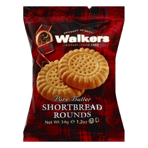 Walkers Pure Butter Shortbread Rounds, 1.2 OZ (Pack of 22)