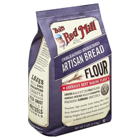Bobs Red Mill Artisan Bread Unbleached Enriched Flour, 5 Lb (Pack of 4)