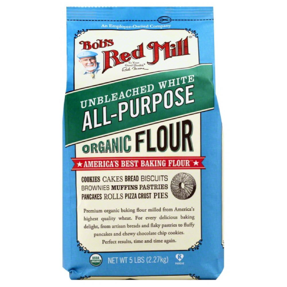 Bobs Red Mill Unbleached White Organic All-Purpose Flour, 5 Lb (Pack of 4)
