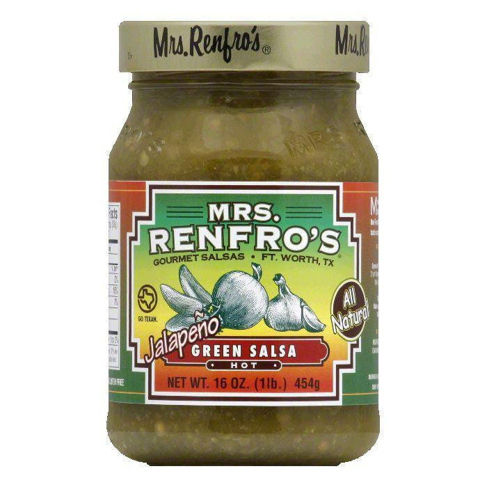 Mrs. Renfro's Salsa Green Hot, 16 OZ (Pack of 6)