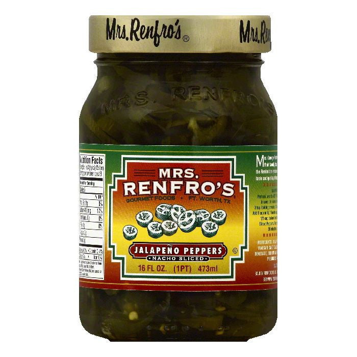 Mrs Renfros Nacho Sliced Jalapeno Peppers, 16 OZ (Pack of 6)