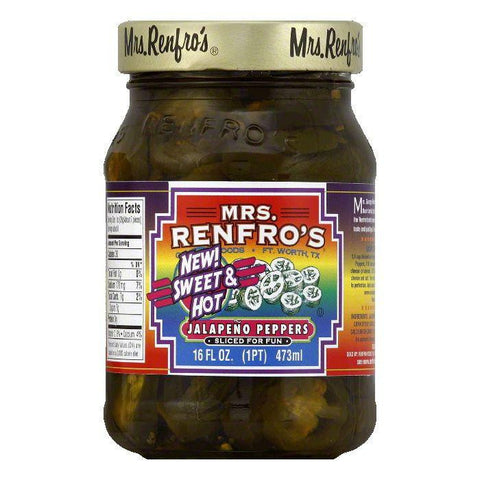 Mrs Renfros Sweet & Hot Jalapeno Peppers, 16 Oz (Pack of 6)
