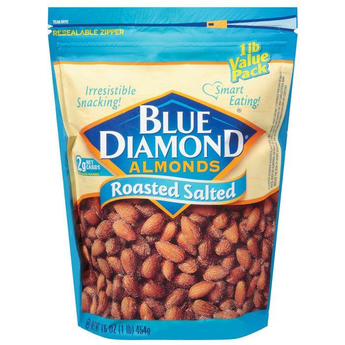 Blue Diamond Roasted Salted Value Pk Almonds 16 Oz Stand Up Bag (Pack of 6)