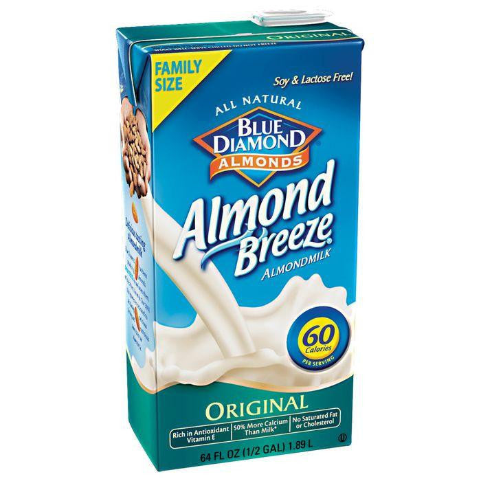 Blue Diamond Almonds Almond Breeze Original Almond Milk Non Dairy Milk Alternative 64 fl. Oz Aseptic Pk (Pack of 8)