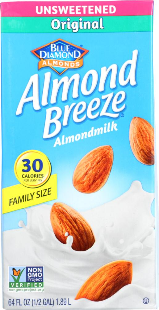 Blue Diamond Almond Breeze Almondmilk Original Unsweetened, 64 fl oz (Pack of 8)