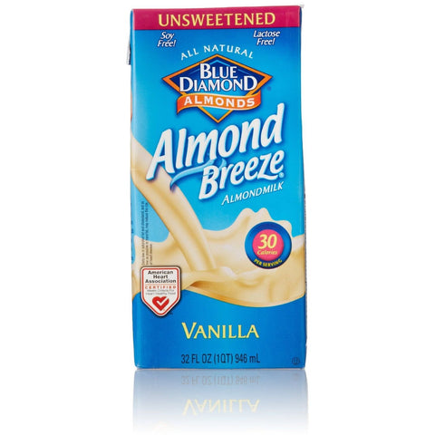 Blue Diamond Almonds Almond Breeze Unsweetened Vanilla Almondmilk 32 fl. Oz Carton (Pack of 12)