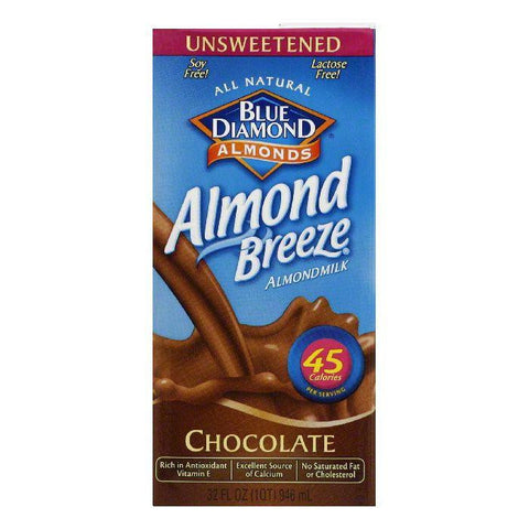 Blue Diamond Breeze Unsweetened Chocolate, 32 FO (Pack of 12)