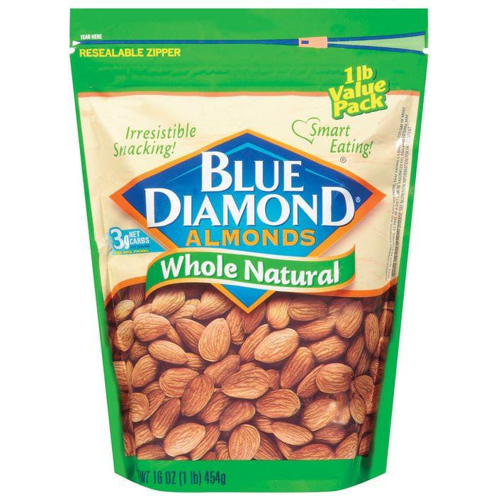 Blue Diamond Whole Natural Value Pack Almonds 16 Oz Bag (Pack of 6)