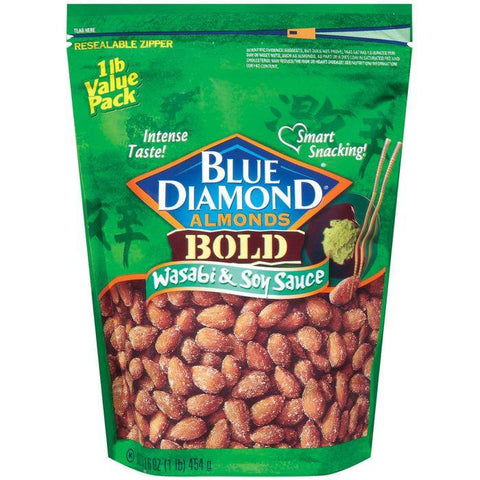 Blue Diamond Bold Wasabi & Soy Sauce Almonds 16 Oz Bag (Pack of 6)