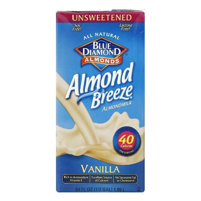 Blue Diamond Unsweetened Vanilla Almond Beverage, 64 FO (Pack of 8)