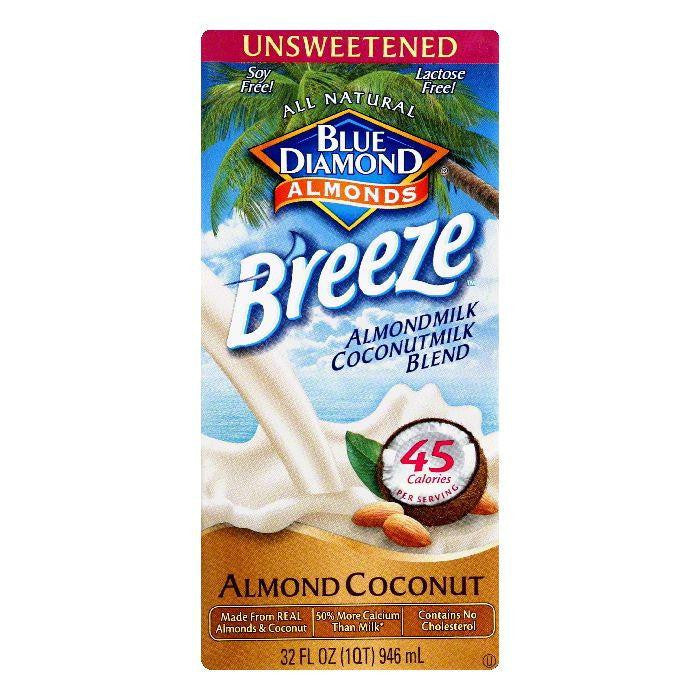 Blue Diamond Unsweetened Almond Coconut Almondmilk Coconutmilk Blend, 32 Oz (Pack of 12)