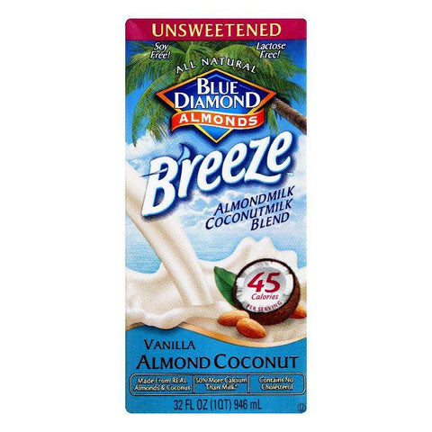 Blue Diamond Unsweetened Vanilla Almond Coconut Almondmilk Coconut Milk Blend, 32 Oz (Pack of 12)