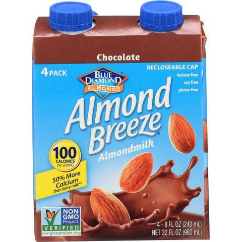 Blue Daimond Almond Breeze Almondmilk Chocolate, 32 fl oz (Pack of 6)