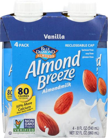 Blue Daimond Almond Breeze Almondmilk Vanilla, 32 fl oz (Pack of 6)