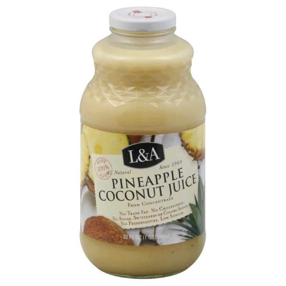 L & A Pineapple Coconut Juice, 32 Fo (Pack of 6)