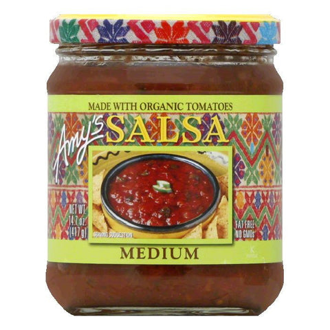 Amys Salsa Medium Organic, 14.7 OZ (Pack of 6)
