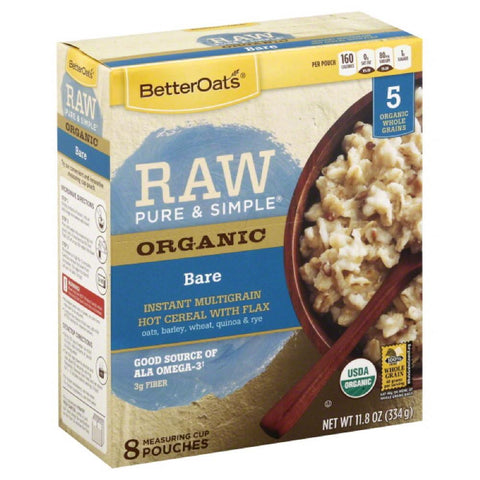 Better Oats Bare with Flax Multigrain Instant Hot Cereal, 11.8 Oz (Pack of 6)