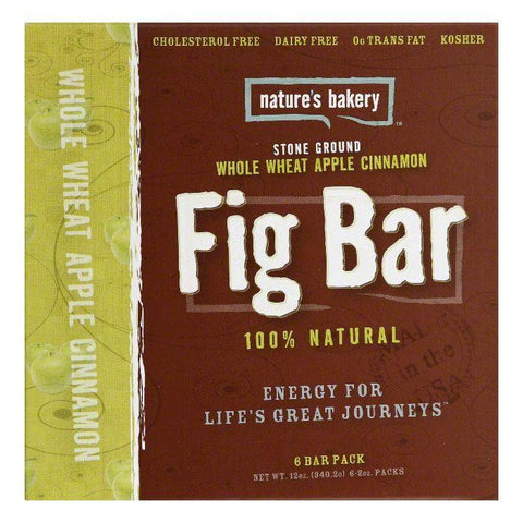 Natures Bakery Whole Wheat Apple Cinnamon Fig Bar, 12 Oz (Pack of 6)