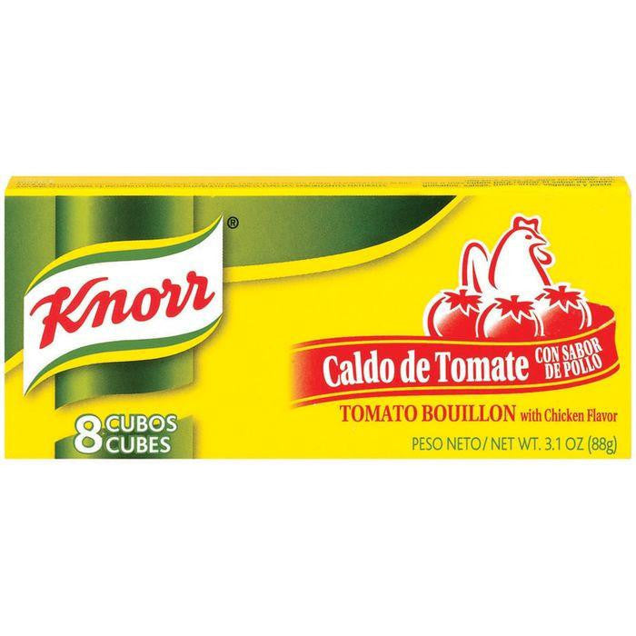 Knorr Hispanic Tomato W/Chicken Flavor Cubes Bouillon 8 Ct (Pack of 24)