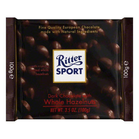 Ritter Sport Chocolate Bar Dark Whole Hazelnut, 3.5 OZ (Pack of 10)