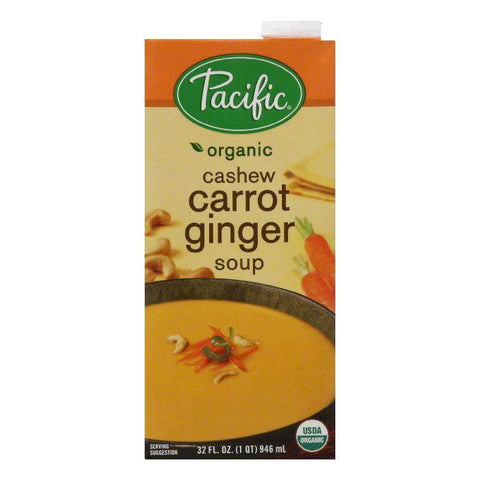 Pacific Foods Soup Cashew Carrot Ginger, 32 OZ (Pack of 12)