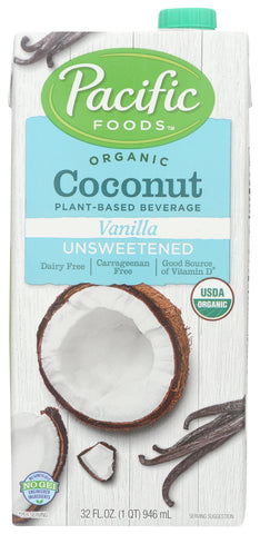 Pacific Foods Organic Coconut Vanilla Unsweetened, 32 fl oz (Pack of 12)