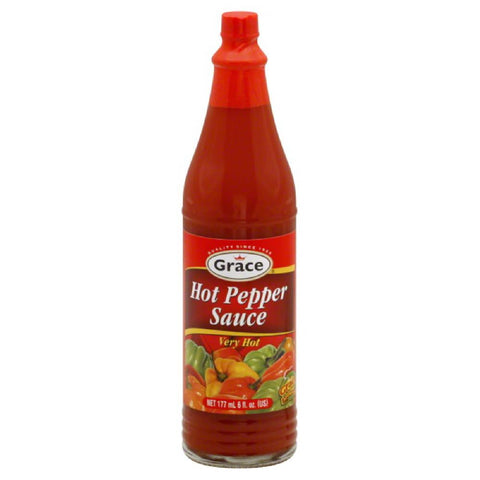 Grace Very Hot Hot Pepper Sauce, 6 Oz (Pack of 24)