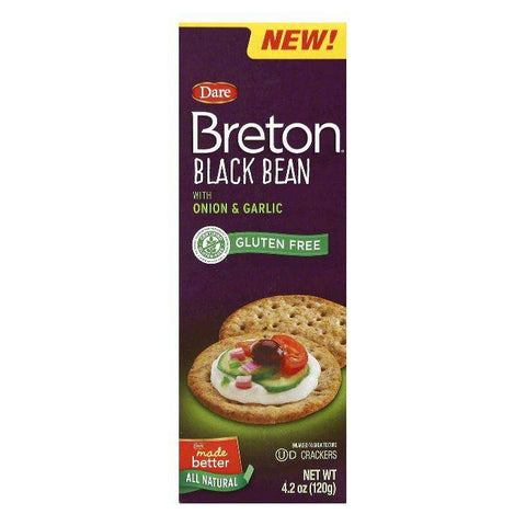 Dare Black Bean Crackers with Onion & Garlic, 4.2 OZ (Pack of 6)