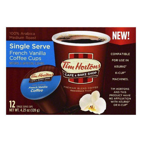 Tim Hortons French Vanilla Medium Roast Single Serve Cups Coffee, 12 ea (Pack of 6)