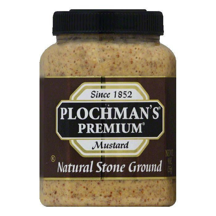 Plochmans Mustard Natural Stone Ground, 9 OZ (Pack of 12)