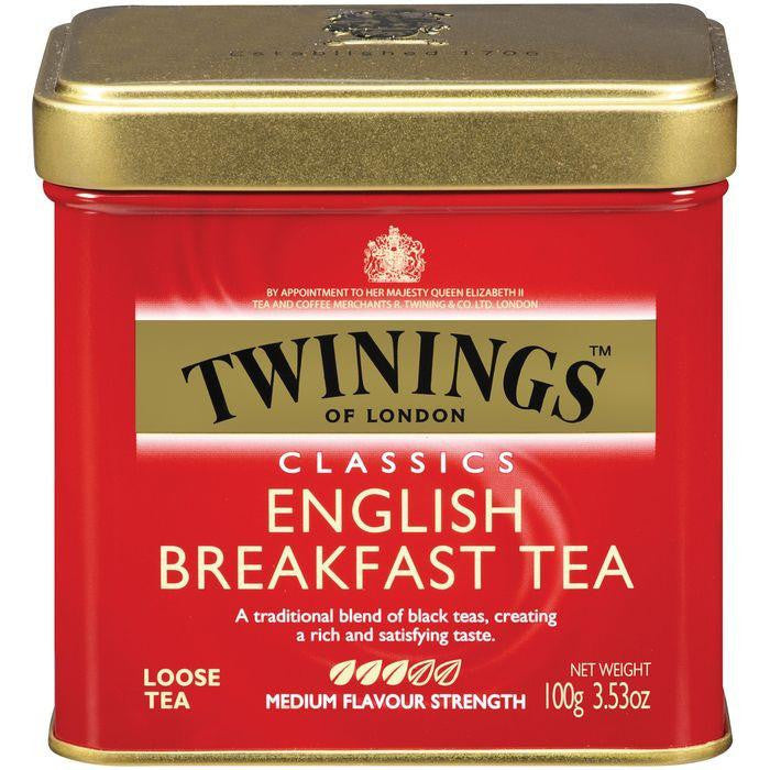 Twinings of London Classics English Breakfast Medium Flavour Strength Loose Tea 3.53 Oz Tin (Pack of 6)
