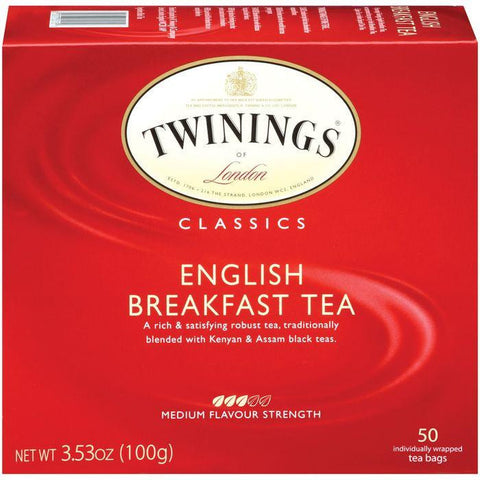 Twinings of London Classics English Breakfast Medium Flavour Strength Tea Bags 50 Ct (Pack of 6)